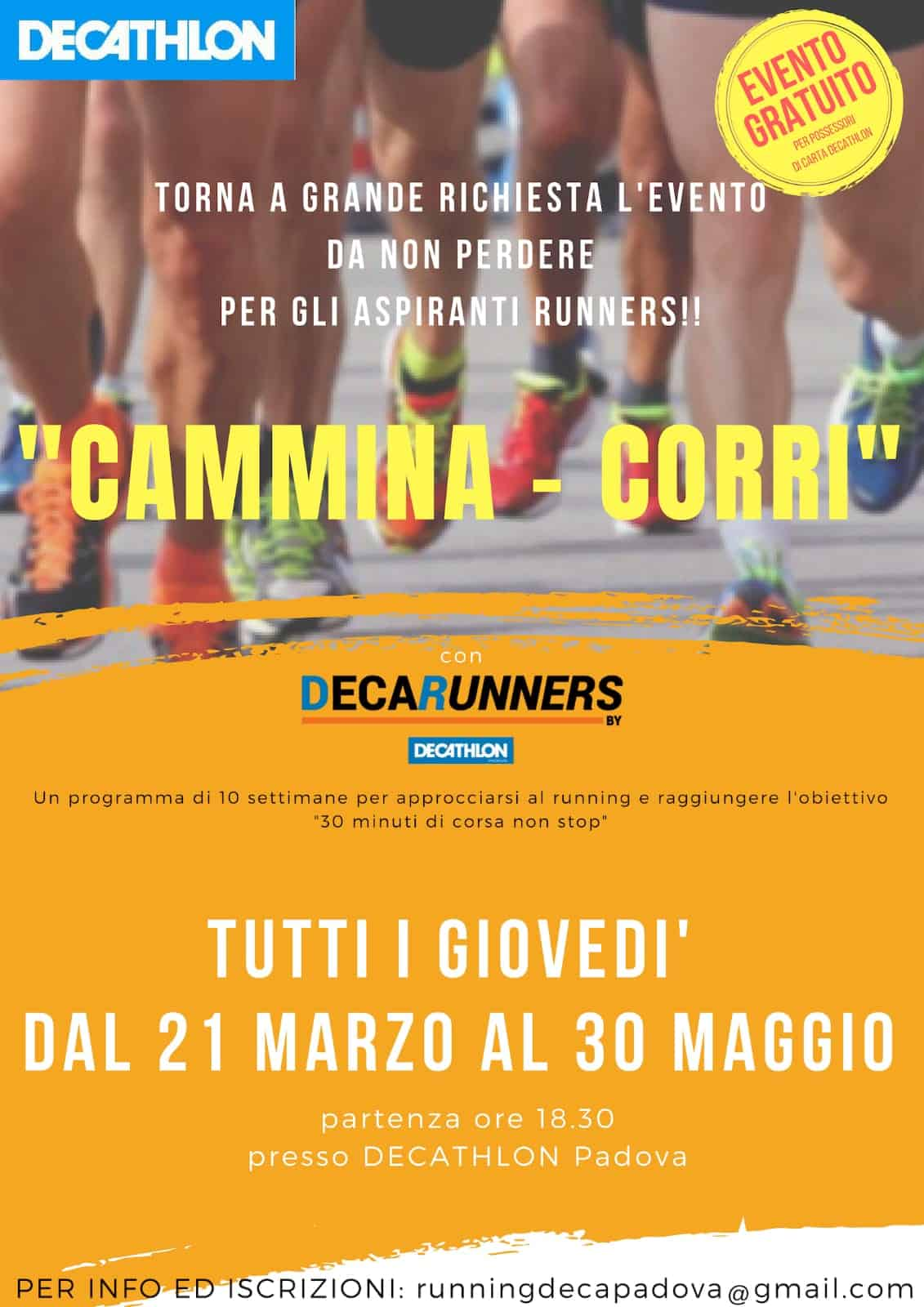 Evento CAMMINA – CORRI by Decathlon Padova