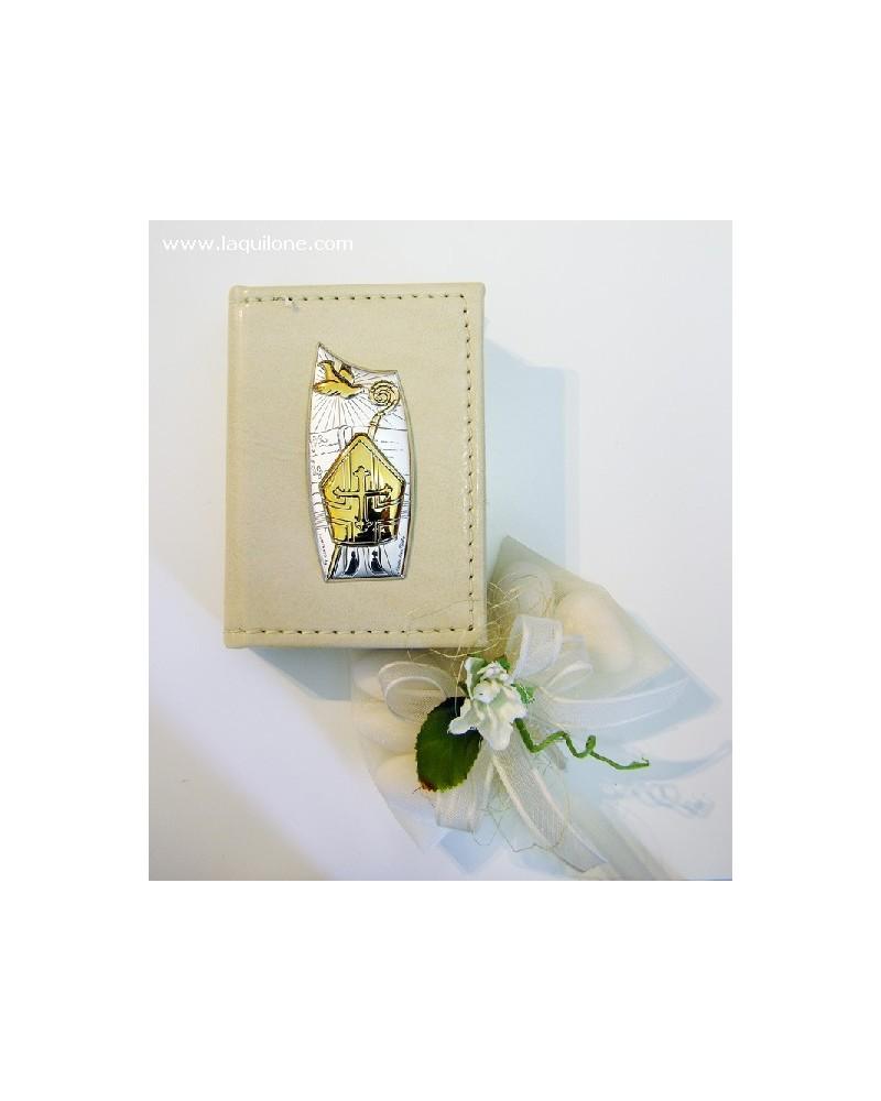 Bomboniera Cresima Vangelo con copertina in pelle e placchetta argento Mitra Cresima