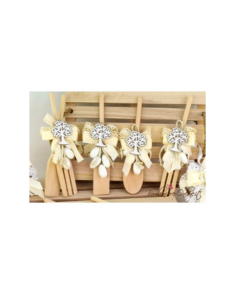 Forchetta e paletta legno linea Country con applicazione Albero