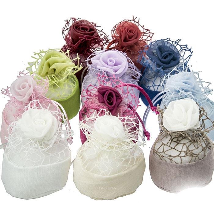 Sacchetti Portaconfetti in tessuto e rete con Rosa