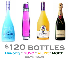 $120 bottles hpnotiq, nuvo, alize and moet nyc