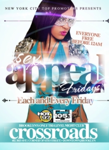 sex appeal fridays crossroads brooklyn january 7th