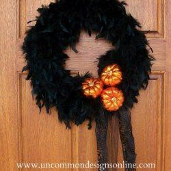 Elegant Halloween Feather Wreath