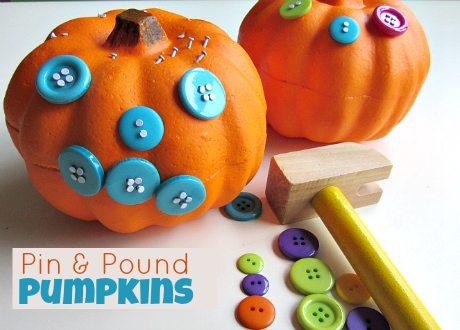 Pin & Pound Pumpkins is a fun fine motor activity for the Halloween season!