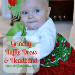 Grinch Ruffle Dress and Headband