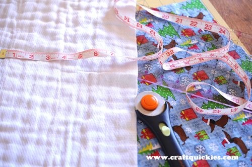 Burp cloths are easy to make. Simply use fabric Mod Podge for the perfect no-sew baby project. I love this holiday set as a baby shower gift!