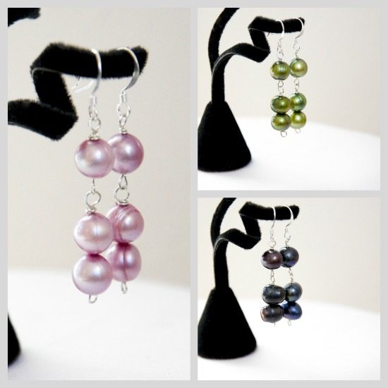 Triple Stack Pearl Earring Collage