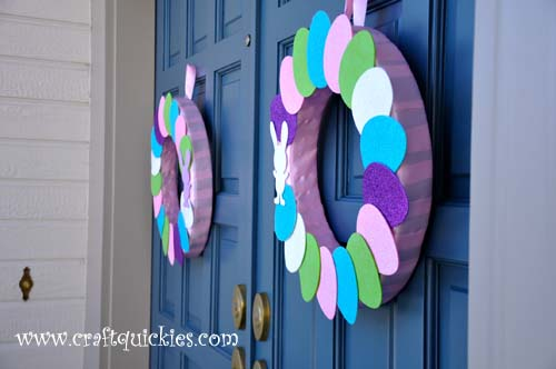 Hippity Hop Simple Easter Wreaths from Craft Quickies