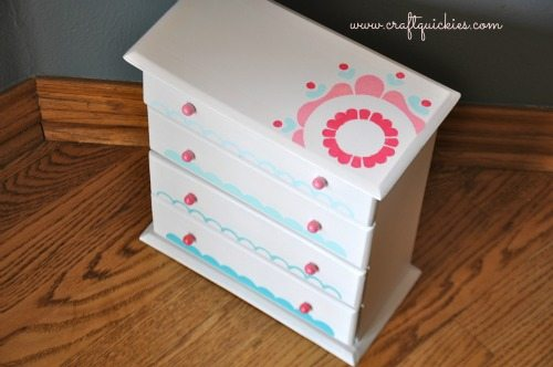 Painting a Sweet Miniature Dresser with Handmade Charlotte Stencils 11