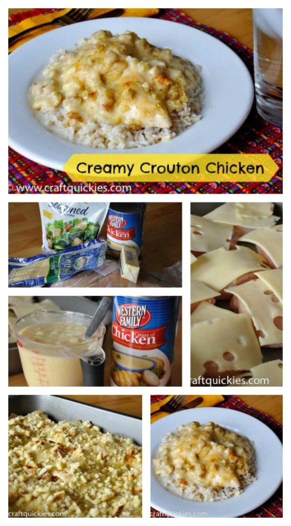 Of all the chicken recipes I make, this creamy crouton chicken is by far my favorite. Not only is it super quick and easy to make, but everyone loves it.