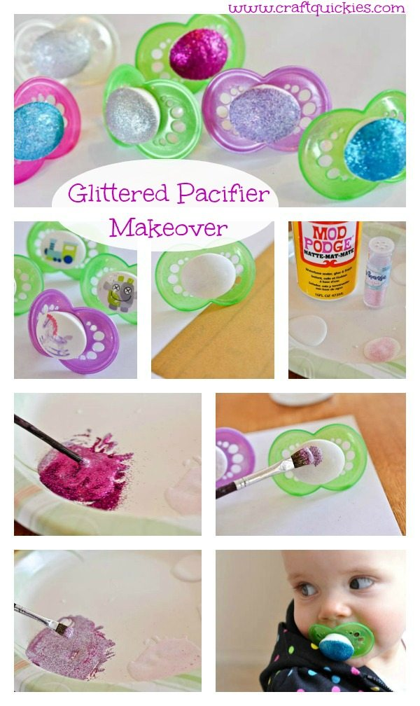 Give old pacifiers a makeover with glitter and Mod Podge! Brilliant! www.bombshellbling.com