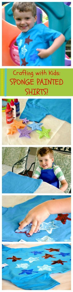 Sponge painting t-shirts is a perfect creative activity for kids! Simple, fun, and wearable!