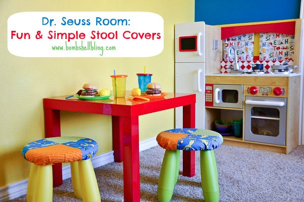 I love these cute stool covers!  Perfect to jazz up Ikea stools!