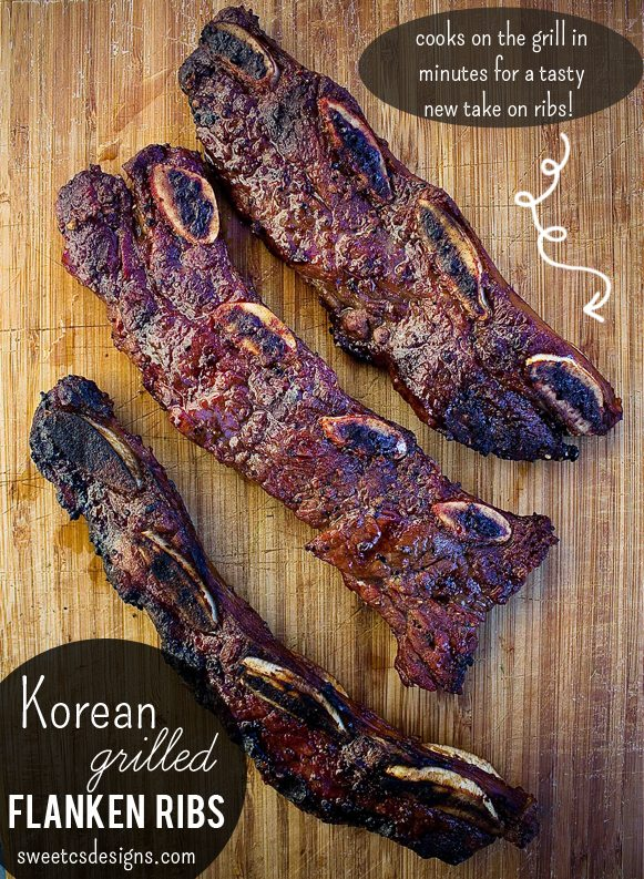 grilling Korean ribs on wood board
