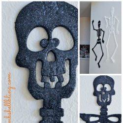 Pottery Barn Inspired Glitter Skeletons