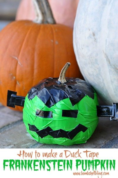 How to Make a Duck Tape Frankenstein Pumpkin