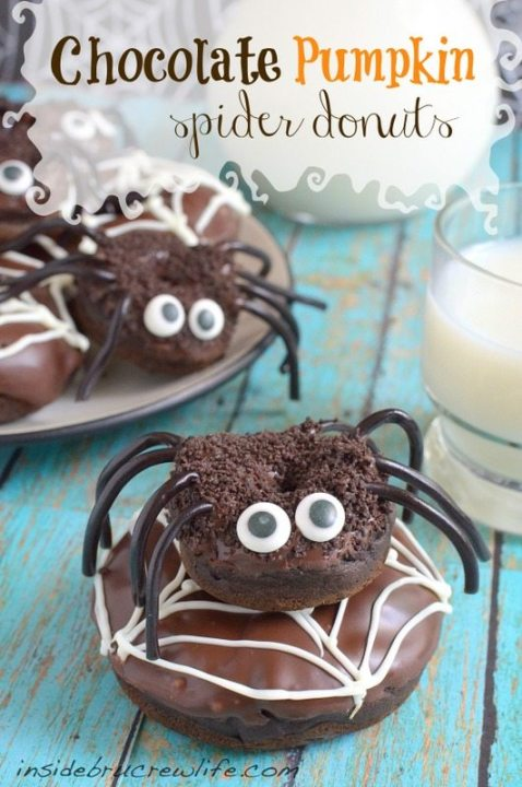 *chocolate-pumpkin-spider-donuts
