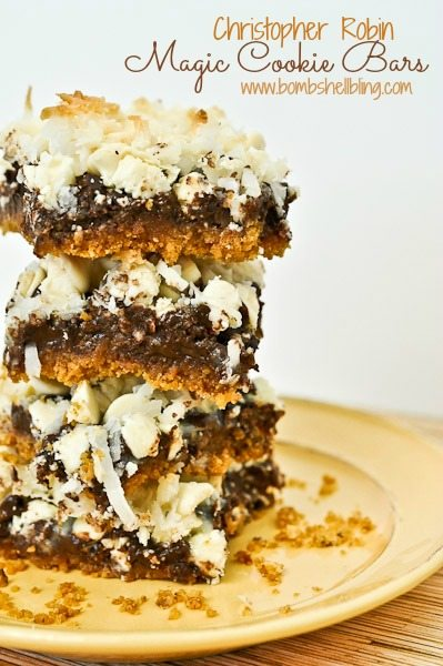 Christopher Robin Magic Cookie Bars are a delicious and simple recipe for layered cookie bars. One bite and your family and friends will be asking for them again and again. YUM!