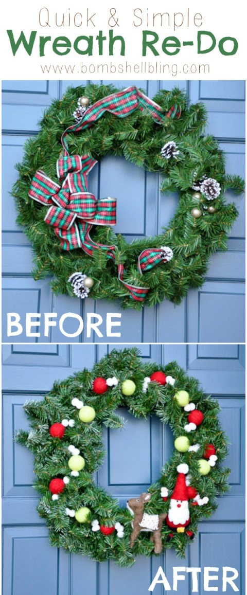 From outdated to fab in less than an hour!  Love this wreath makeover!