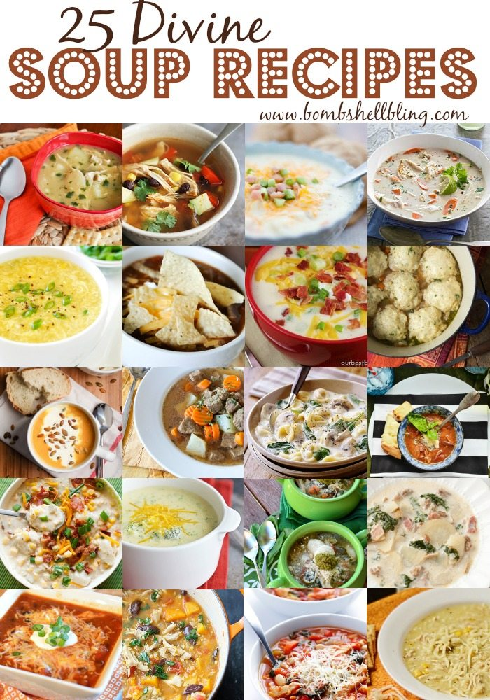 These 25 bowls of deliciousness will warm up the cold winter nights. Here are 25 divine soup recipes that everyone will enjoy and many are easy to make.