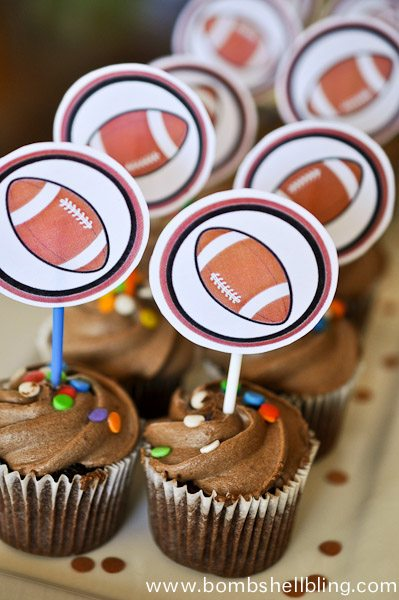 These mini cupcake toppers are perfect for sports themed birthday parties!