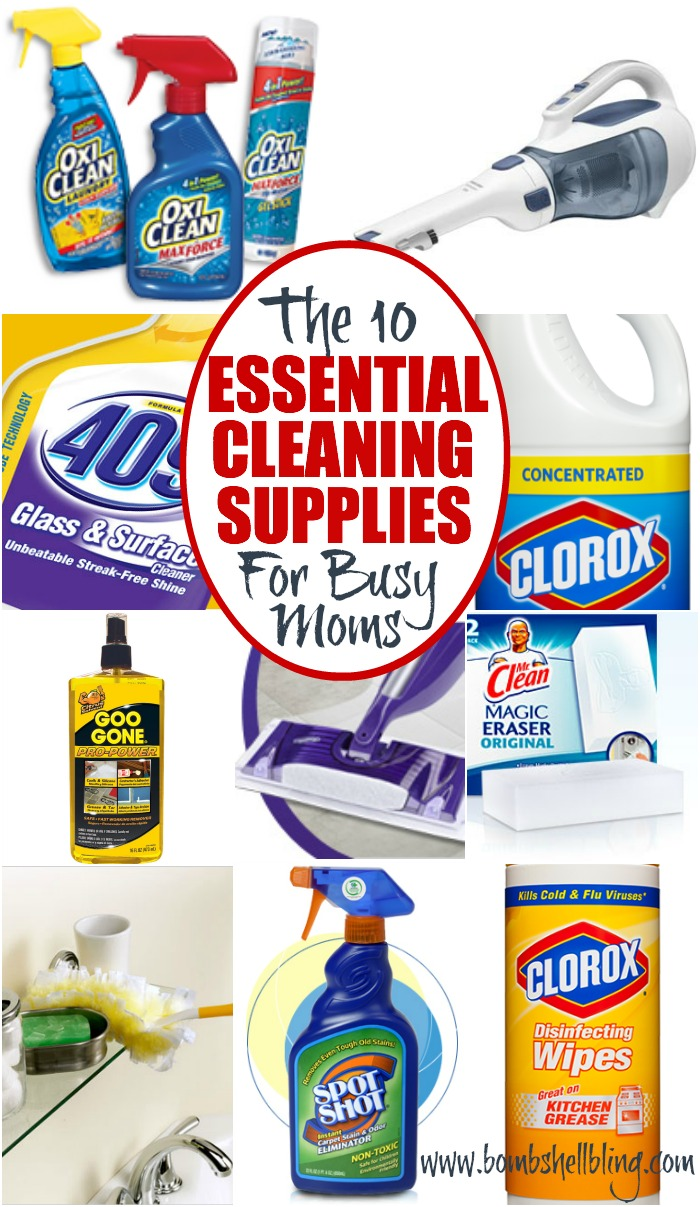 Cleaning supplies collage