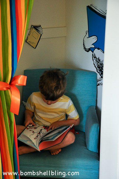 "I love this idea! Turn a walk-in closet into a ""secret"" reading nook!"