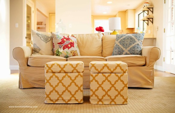 From Ikea footstool to storage ottoman!  Brilliant, and it looks simple!