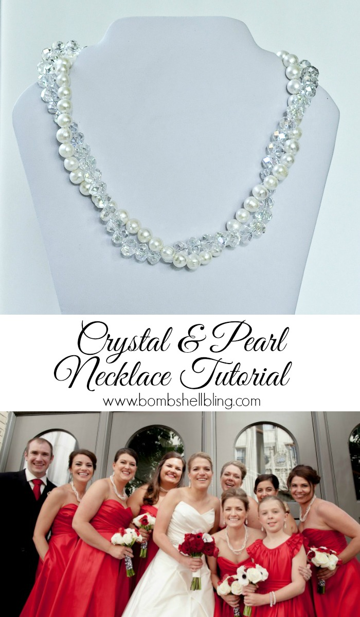 crystal and pearl necklace collage pin