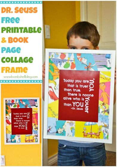 FREE Dr. Seuss Printable and a GREAT idea for a unique frame---book page collage mats!