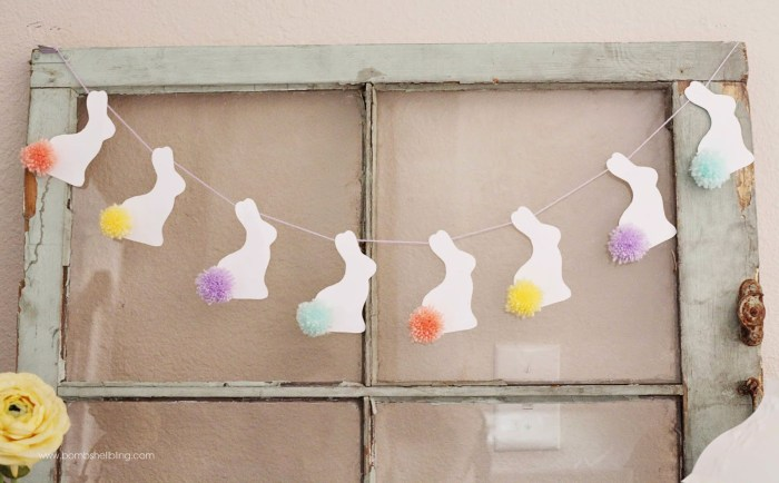I love this sweet pom pom bunny tail bunting!