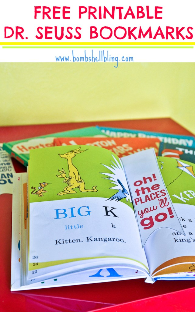 These free printable DrSeuss Bookmarks come in three colors. So fun for kids, teachers, and Seuss lovers of any age! Pair them with a Dr. Seuss book for a great gift!