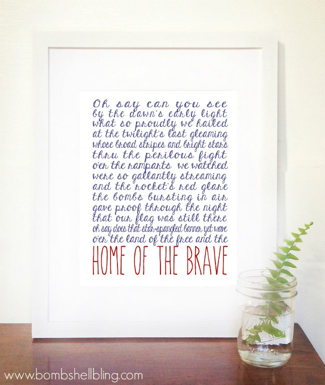 Home of the Brave 4th of July Printable