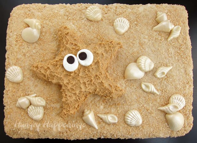 +Peanut Butter Fudge and Rice Krispie Treat Starfish, beach themed food, recipes, summer fun recipe, starfish