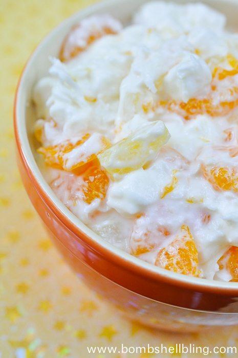 5 Cup Salad recipe in orange bowl