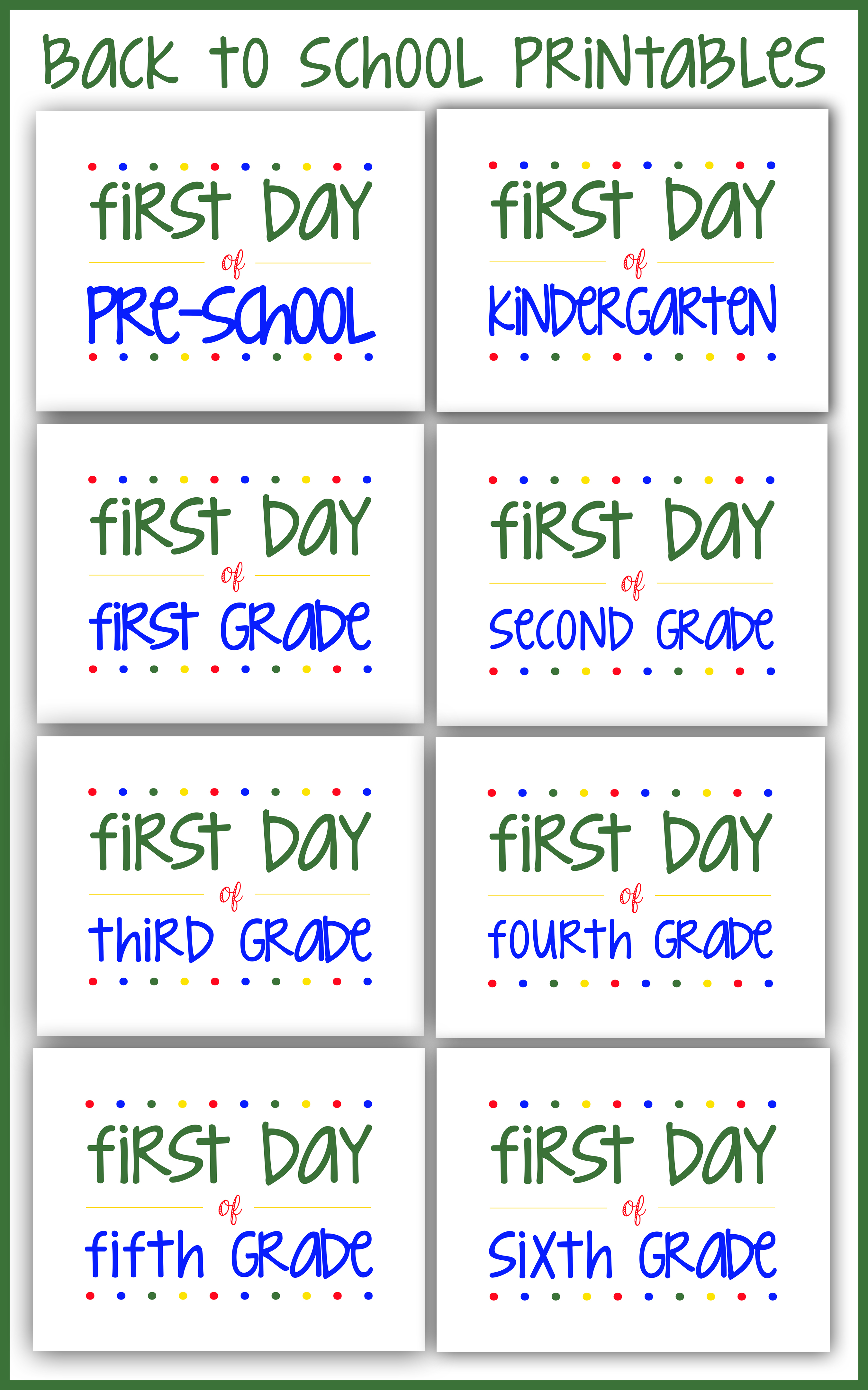 hight resolution of Back to School Printables to Take Great First Day Photos Each Year