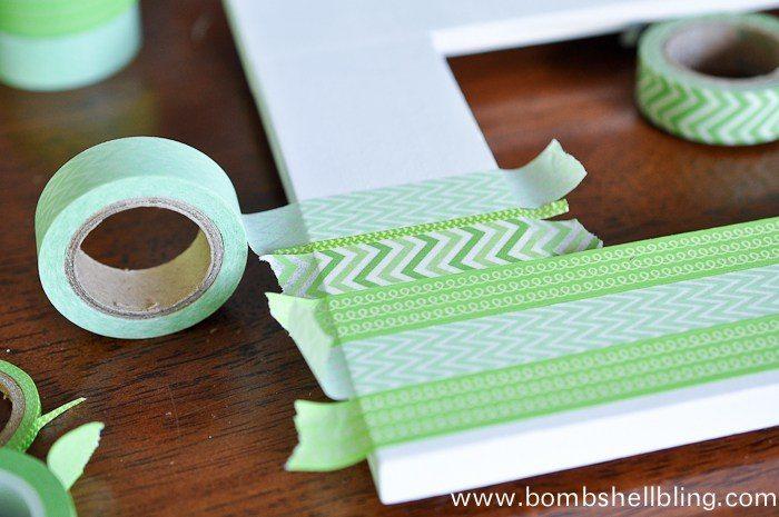 Placing washi tape on frame