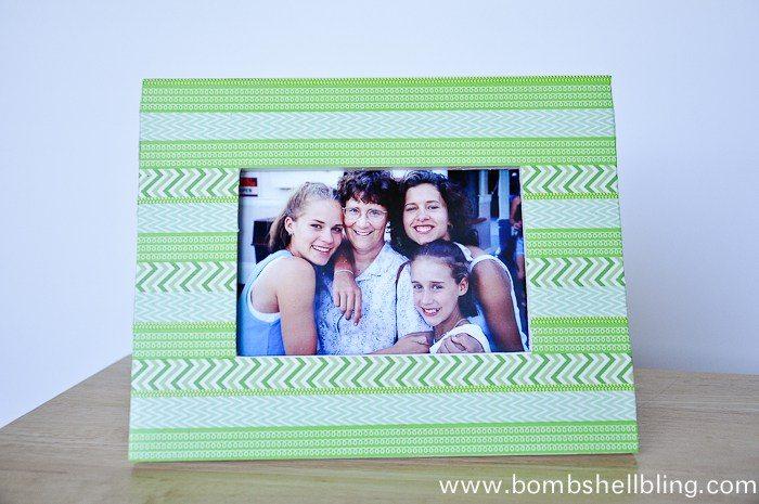 horizontal photo of green washi tape frame