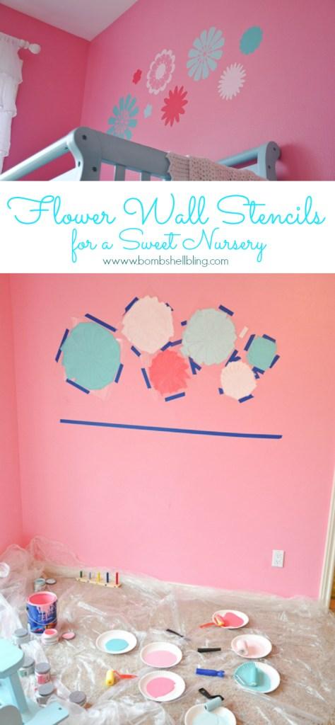 Flower Wall Stencils for a Sweet Nursery