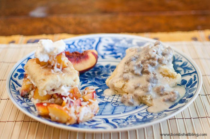 The world's best buttermilk biscuits -- two ways!  Topped with sausage gravy or ambrosia salad.