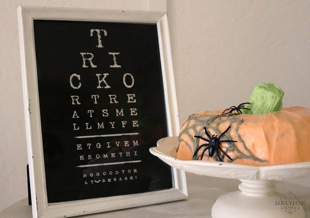 Eye chart printable pumpkin bundt Halloween cake by Lolly Jane
