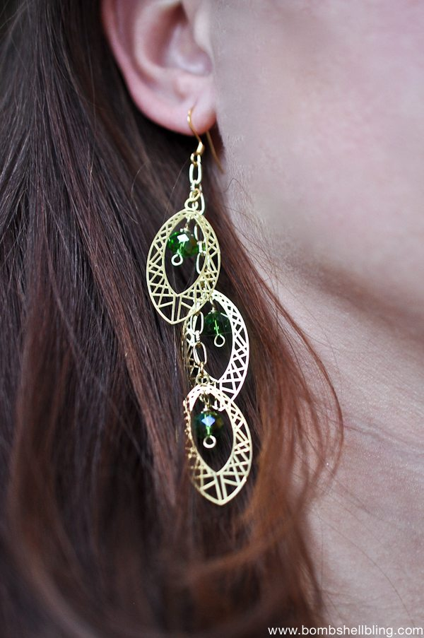 Gold & Green Earrings CC-4