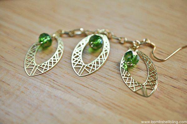 Gold & Green Earrings Tutorial CC-13