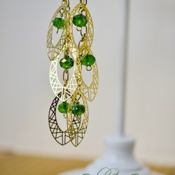 Gold & Green Party Earrings