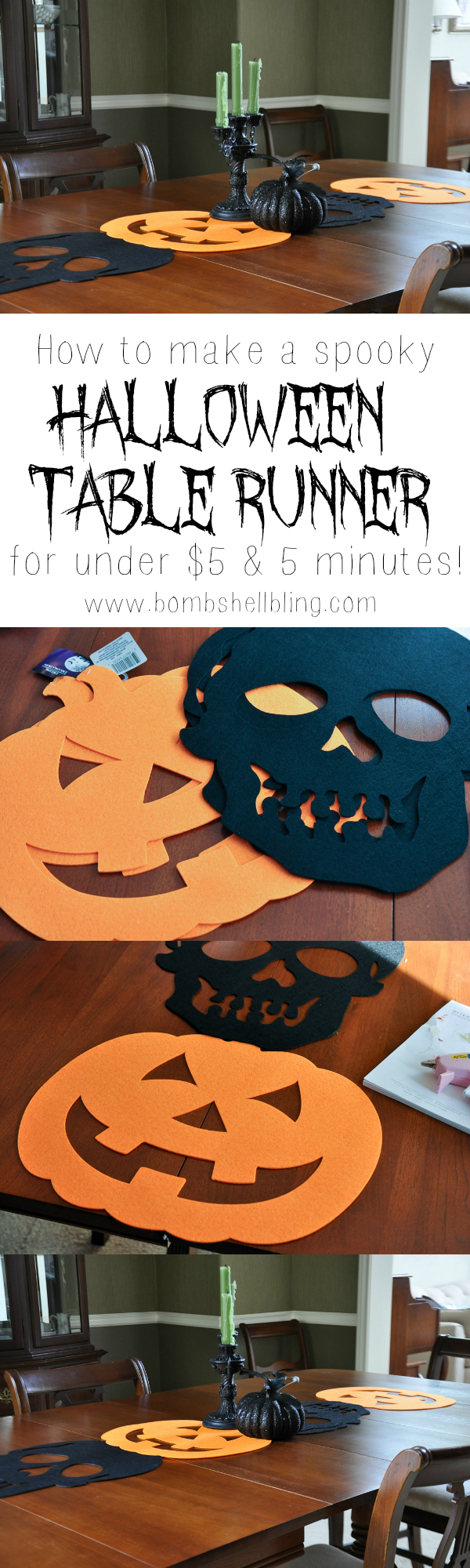 How to make a spooky Halloween table runner for under $5 & 5 minutes!