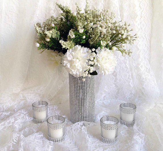 A Rhinestone Vase and Candle Votives!