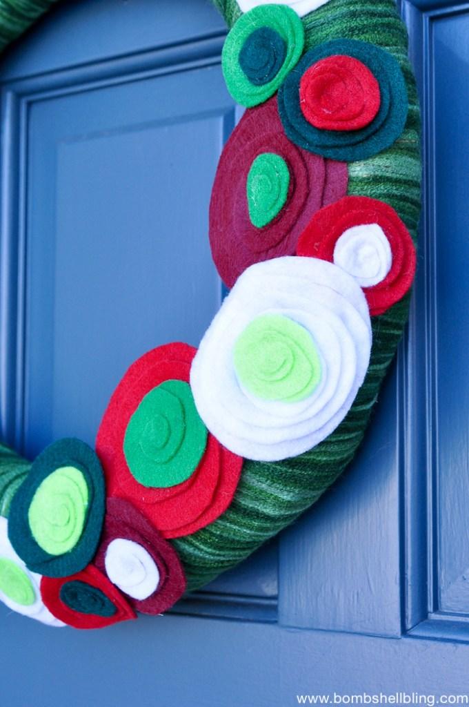 Christmas Felt Flower Wreath-3