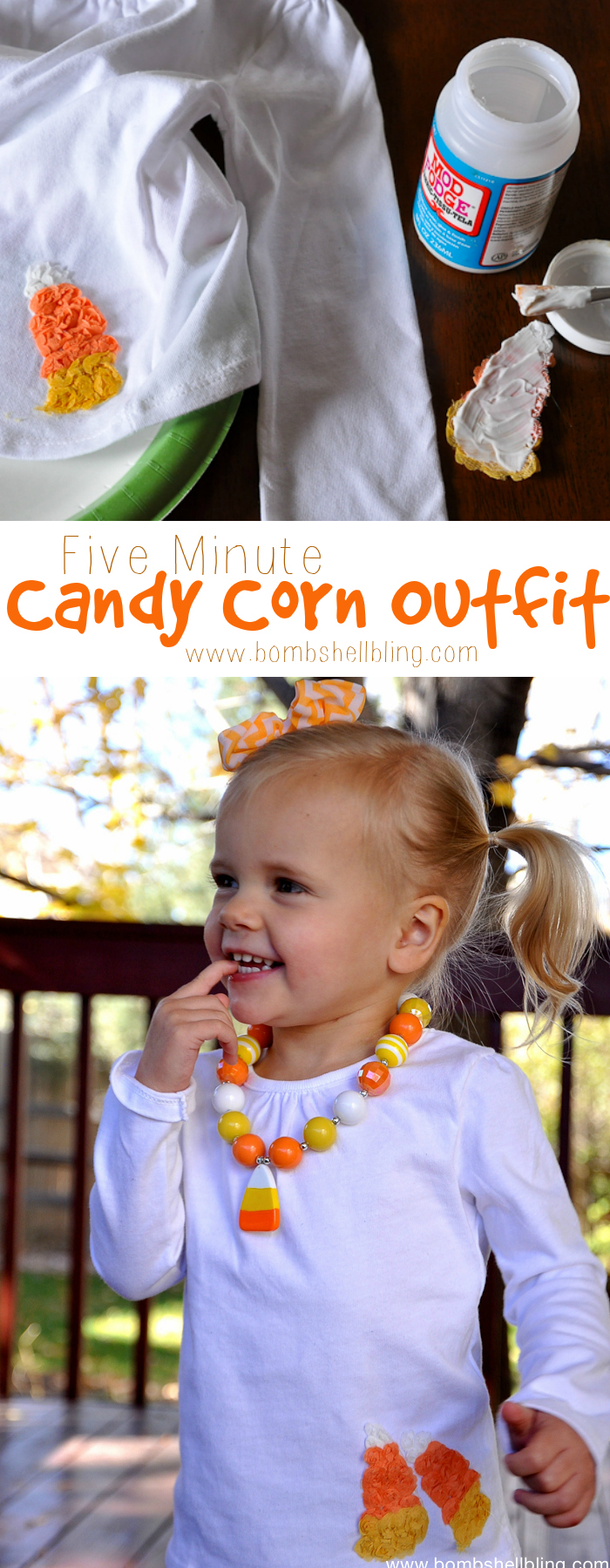 Make this adorable candy corn outfit in five minutes flat!