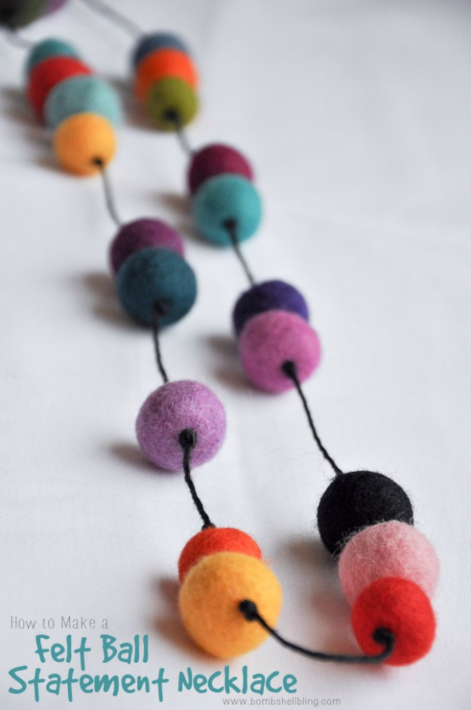 This colorful felt ball necklace tutorial is simple to make and a FABULOUS statement jewelry piece!  It is bold, durable, and stylish!  Mix up colors to make the style your own!