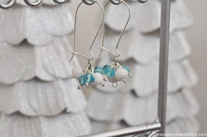 Frozen Inspired Dangle Cluster Earrings-10